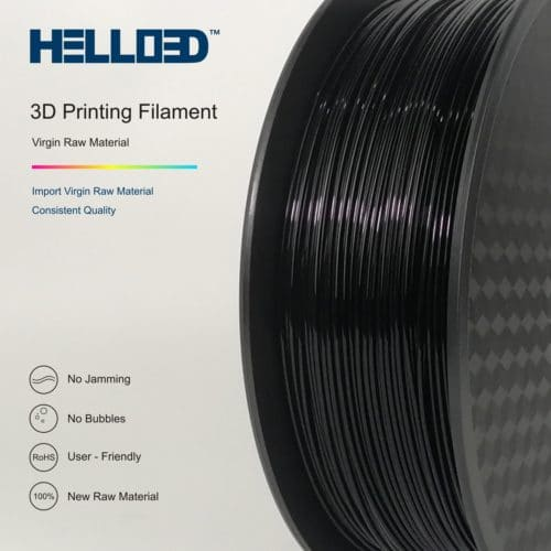 HELLO3D 3D Printer Filament - PLA - 1.75mm - Black - 1Kg