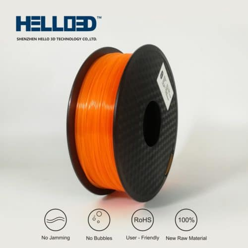 HELLO3D 3D Printer Filament - PLA - 1.75mm - Flourescent Orange - 1Kg