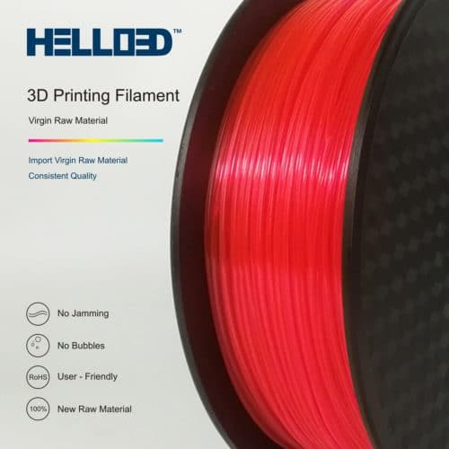 HELLO3D 3D Printer Filament - PLA - 1.75mm - Flourescent Red - 1Kg