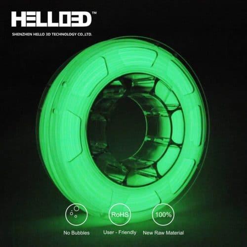 HELLO3D 3D Printer Filament - PLA - 1.75mm - Luminous Green - 1Kg