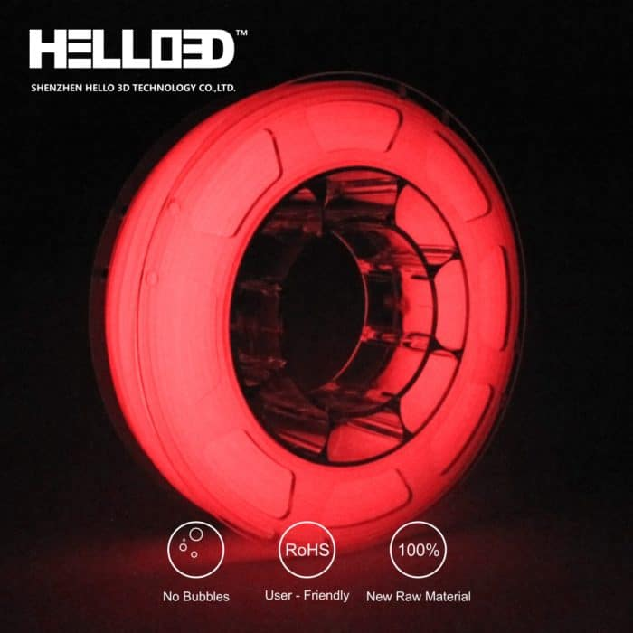 HELLO3D 3D Printer Filament - PLA - 1.75mm - Luminous Red - 1Kg