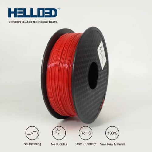 Hello3D 3D Printer Filament – Flexible (TPU) Red – 1.75mm – 0.8Kg