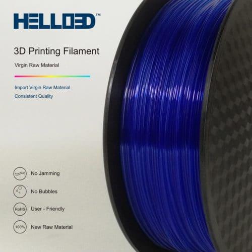 HELLO3D 3D Printer Filament - PLA - 1.75mm - Transparent Blue - 1Kg