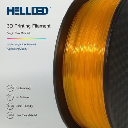 HELLO3D 3D Printer Filament - PLA - 1.75mm - Transparent Orange - 1Kg