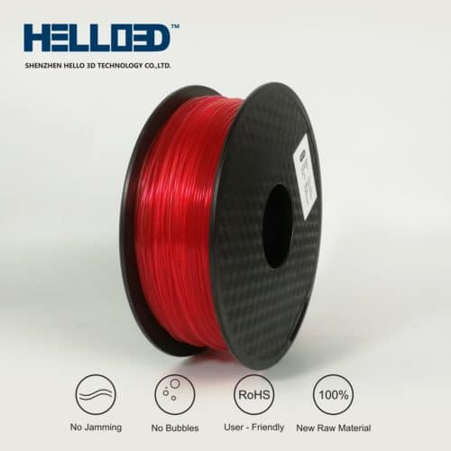 HELLO3D 3D Printer Filament - PLA - 1.75mm - Transparent Red - 1Kg