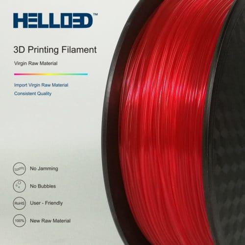 HELLO3D 3D Printer Filament - PLA - 1.75mm - Transparent Red - 1Kg