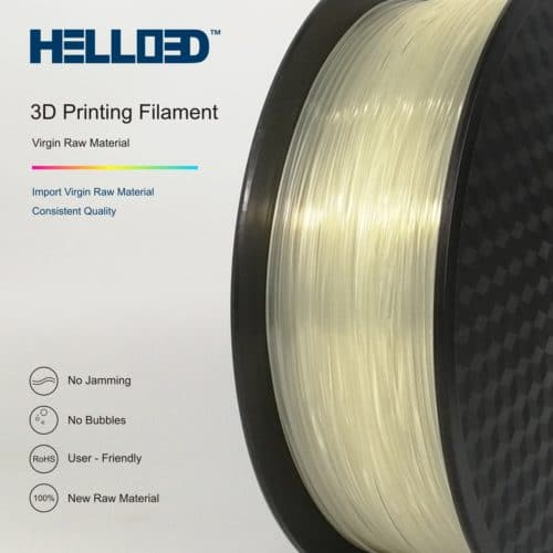 Hello3D 3D Printer Filament – Flexible (TPU) Transparent – 1.75mm – 0.8Kg