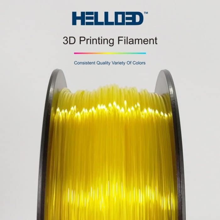 HELLO3D 3D Printer Filament - PLA - 1.75mm - Transparent Yellow - 1Kg