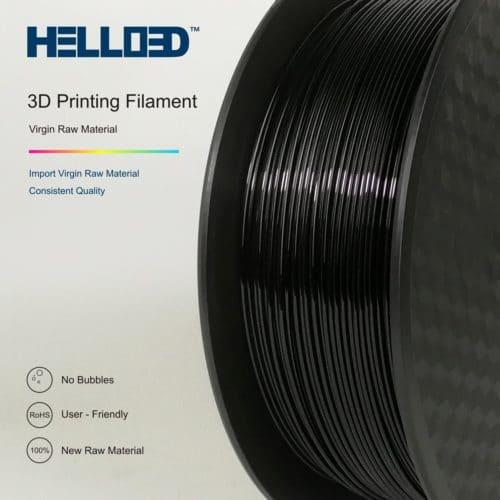 HELLO3D 3D Printer Filament - PETG - 1.75mm - Black - 1Kg