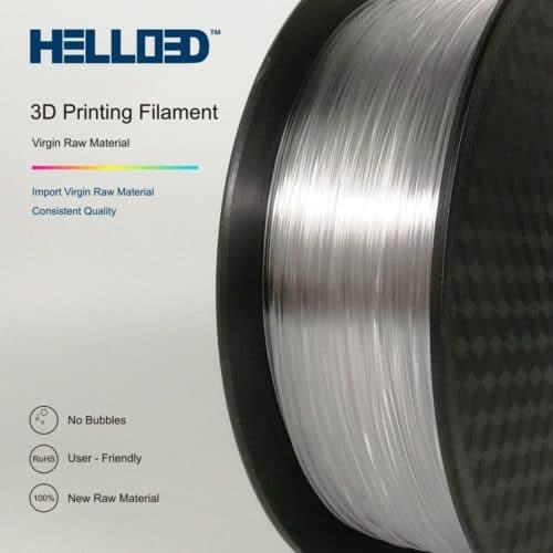 HELLO3D 3D Printer Filament - PETG - 1.75mm - Transparent - 1Kg