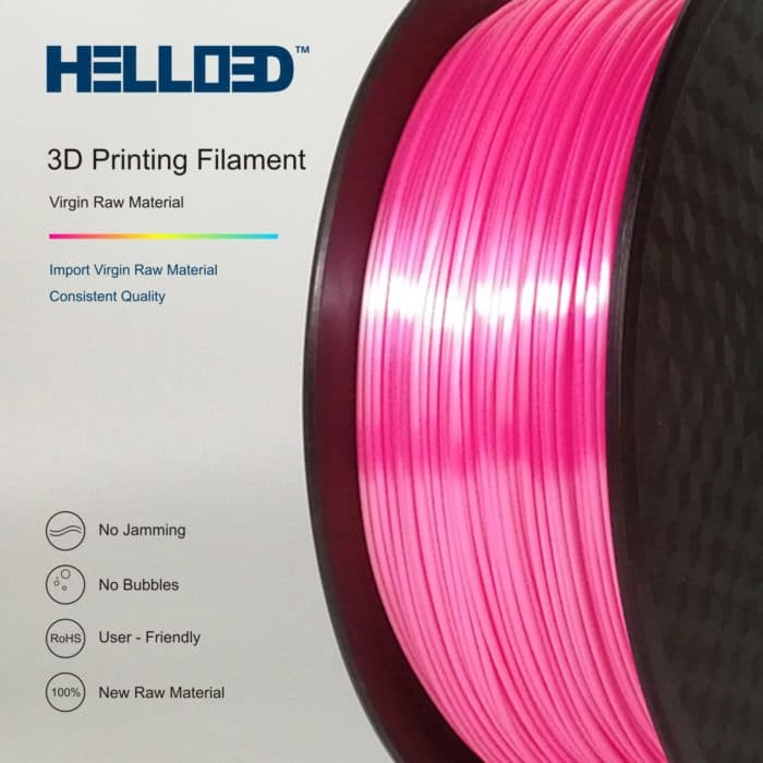 HELLO3D 3D Printer Filament - PLA - 1.75mm - Silk Like Pink - 1Kg
