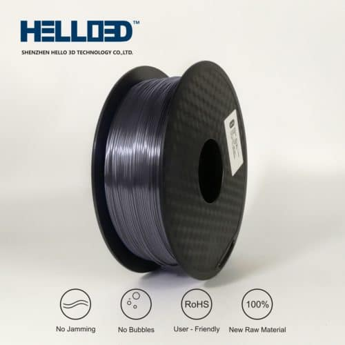 HELLO3D 3D Printer Filament - PLA - 1.75mm - Silk Like Silver Grey - 1Kg
