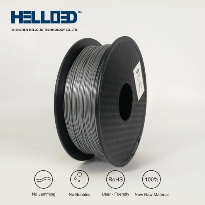 HELLO3D 3D Printer Filament - PLA - 1.75mm - Silver - 1Kg