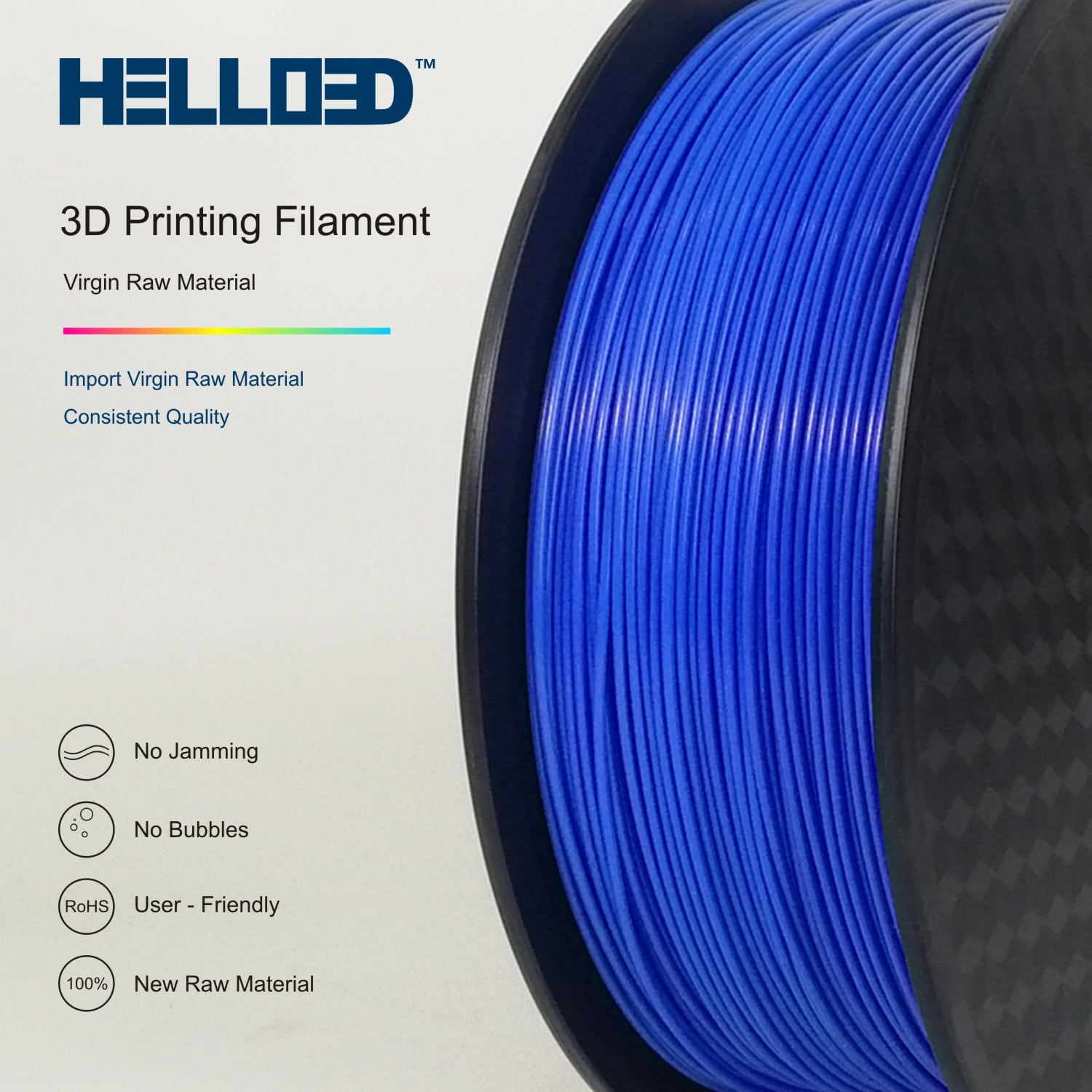 HELLO3D 3D Printer Filament - 1.75mm - Blue - 1Kg