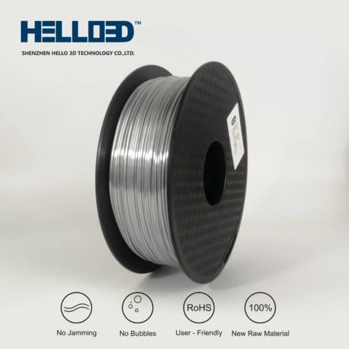 HELLO3D 3D Printer Filament - PLA - 1.75mm - Silk Like Silver - 1Kg