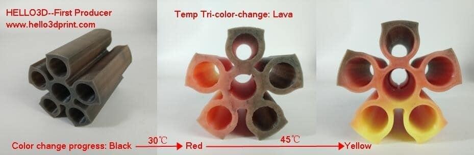HELLO3D 3D Printer Filament - PLA - 1.75mm - Tri Colour Lava - 1Kg