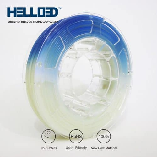 HELLO3D 3D Printer Filament - PLA UV - 1.75mm - Blue - 1Kg